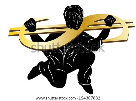 slave of money. man chained to a dollar symbol - stock vector