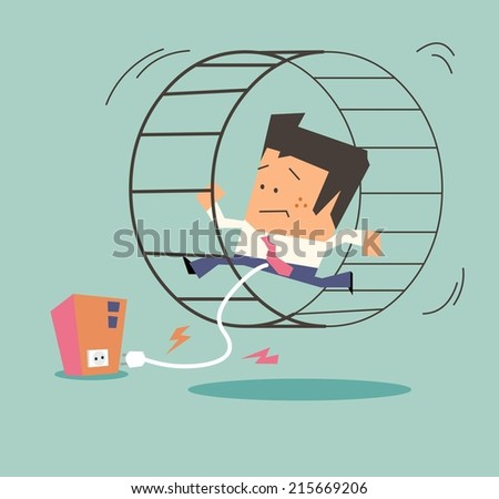 Slave of the company. Flat vector illustration - stock vector