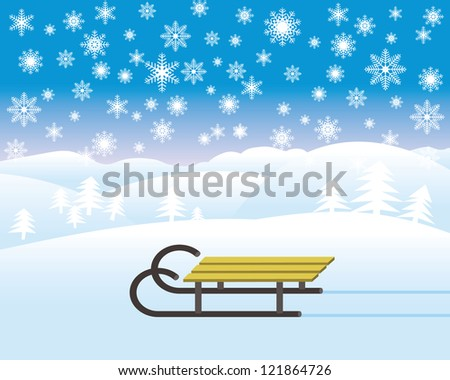 sledge in winter landscape - stock vector