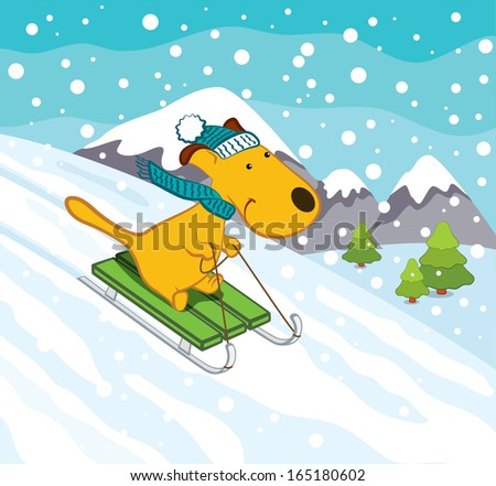 Sledging Dog in Winter Landscape - stock vector