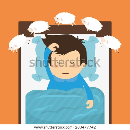 Sleep design over orange background, vector illustration. - stock vector
