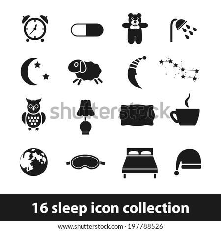 sleep icons - stock vector