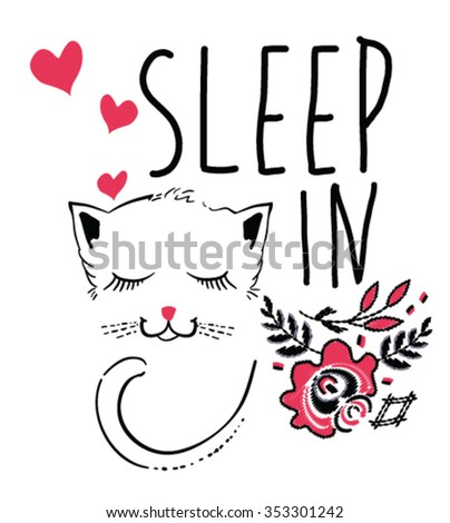 SLEEP IN.Sleeping cat and flowers.illustration - stock vector