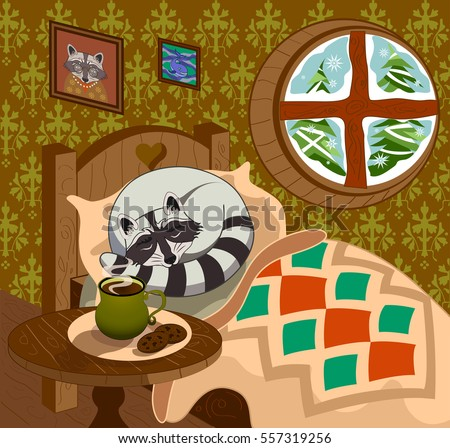 Sleeping raccoon stock images royalty free images for Sleeping with window open in winter