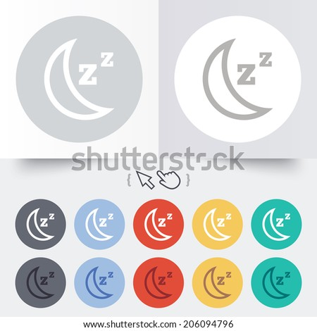 Sleep sign icon. Moon with zzz button. Standby. Round 12 circle buttons. Shadow. Hand cursor pointer. Vector