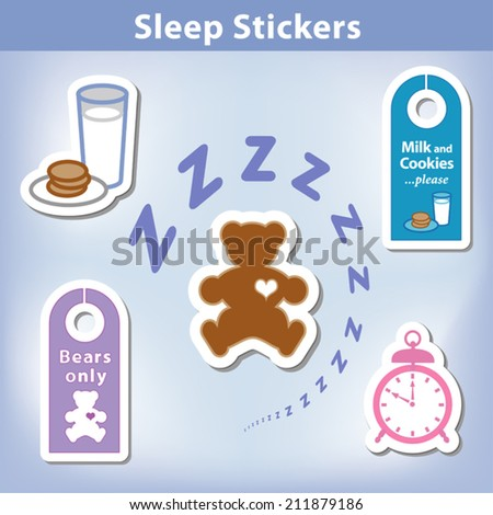 Sleep Stickers: Teddy bear with a big heart, milk, cookies, alarm clock, door hangers for a good night dreaming in spiral Zzz. EPS8 compatible. - stock vector
