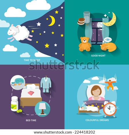 Sleep time icons flat set with good night bed colourful dreams isolated vector illustration - stock vector