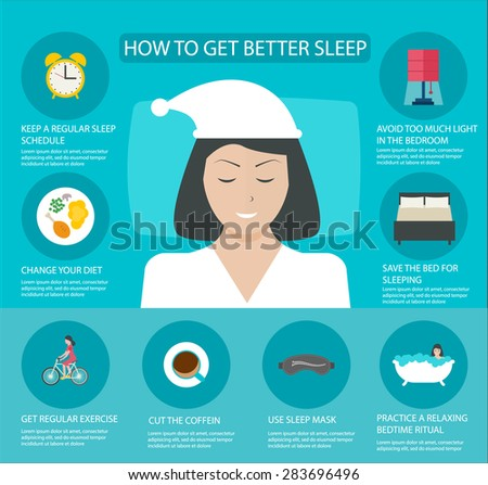 Sleep time infographics with icons set, vector illustration. Infographic How to get better sleep - stock vector