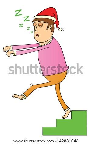 sleep walking on stair - stock vector
