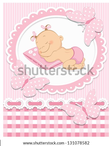 Sleeping baby girl in pink frame - stock vector