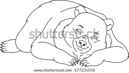 Sleeping Bear Coloring Page Stock Vector 677235058 Shutterstock