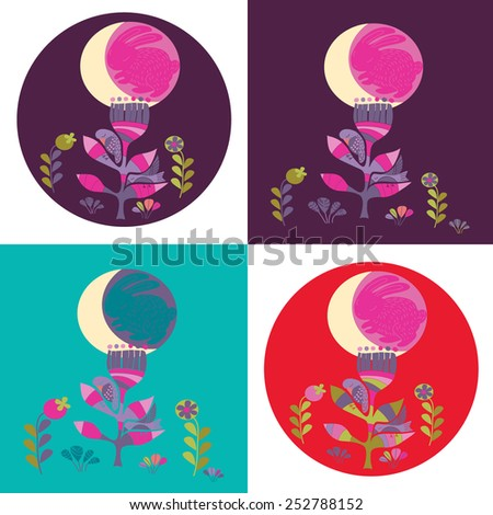 sleeping bird - stock vector
