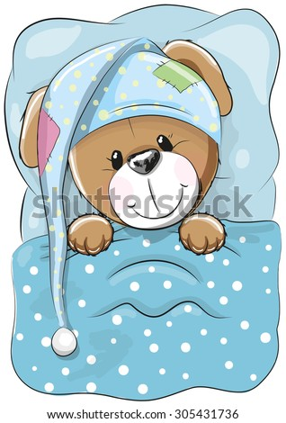Sleeping Dog with a hood in a bed - stock vector