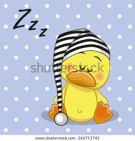 Sleeping Duck in a cap  - stock vector
