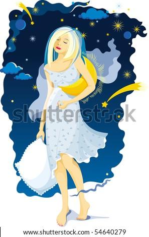 Sleeping girl on a moonlit night - stock vector