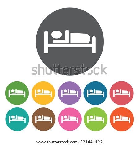 sleeping icon, hotel set. Vector Illustration eps10  - stock vector