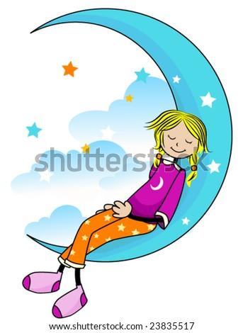 Sleeping Kid - Vector - stock vector