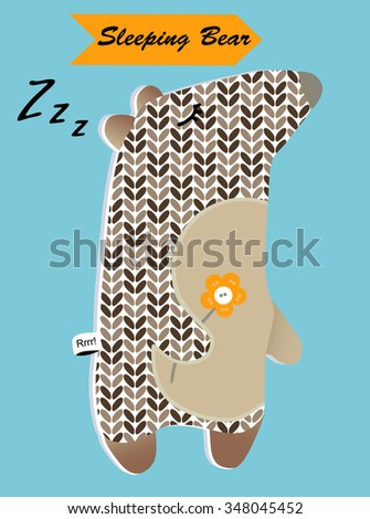 Sleeping knitted bear for design children's website, books, goods, postcards, toys, appliques, clothes, shirts, pillow, decoration. Cute funny cartoon character animal. Childish vector illustration - stock vector