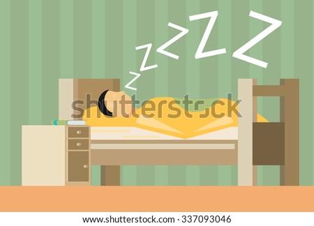 Sleeping man. flat vector - stock vector