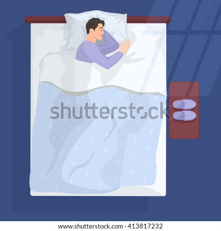 Man Is Sleeping In His Bed At Night Stock Photo - Download ...   Man Sleeping In Bed At Night