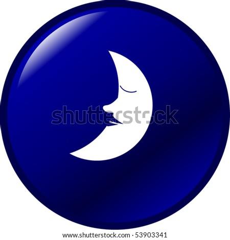 sleeping moon button - stock vector