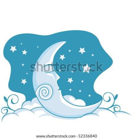 Sleeping Moon illustration - stock vector