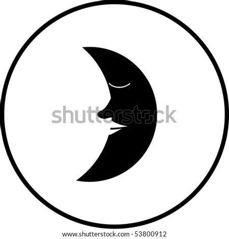 sleeping moon symbol - stock vector