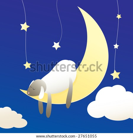 Sleeping sheep on moon