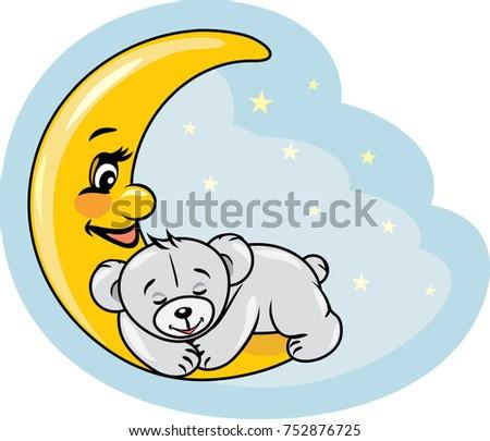 stock-vector-sleeping-teddy-bear-on-the-