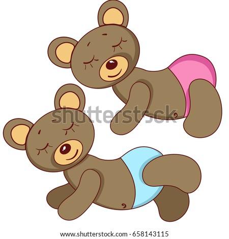 sleeping teddy bears pink blue panties stock vector 658143115