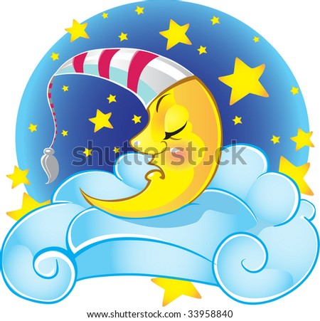 sleeping yellow vector moon in cap on the cloud - stock vector