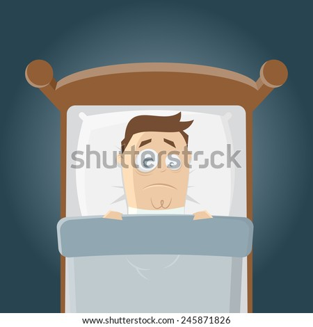 sleepless cartoon man in bed - stock vector