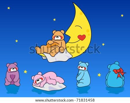 Sleepy Bears - stock vector