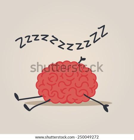 Sleepy Brain character - stock vector
