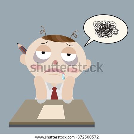 sleepy man cannot work cartoon vector - stock vector