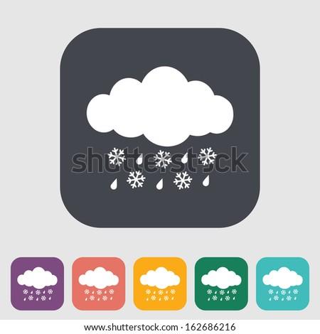 Sleet. Single icon on the button. Vector illustration. - stock vector