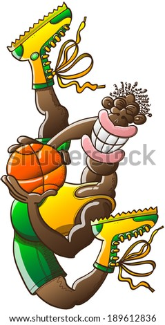 Slender black basketball player wearing yellow tank and boots and green shorts while performing an acrobatic high jump, grinning, posing and holding firmly a ball - stock vector