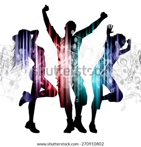 Slhouettes of people dancing on music notes background - stock vector