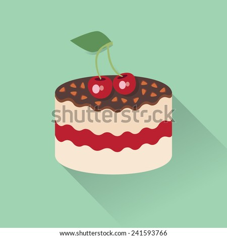 Slice of cherry cake with caramel swirl vector - stock vector