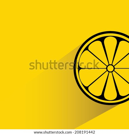slice of fresh lemon in yellow background, flat and shadow theme - stock vector