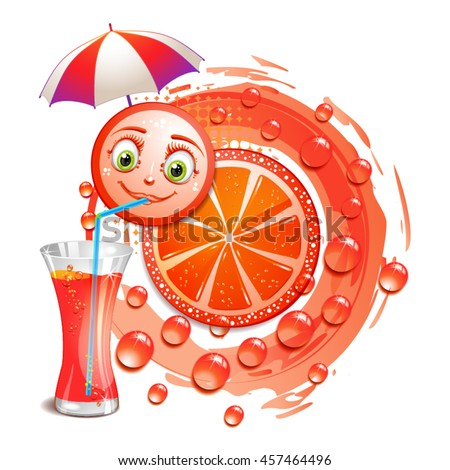 Slice of grapefruit with a smiley face - stock vector