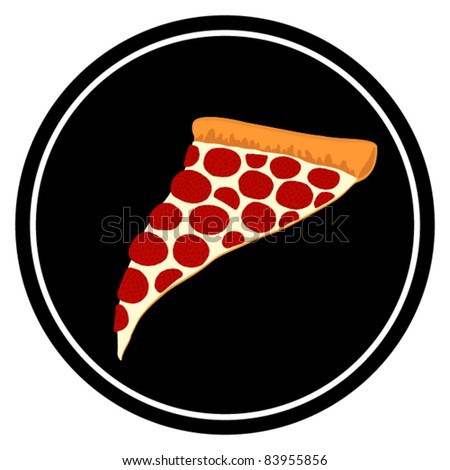 Slice of Pepperoni Pizza Symbol - Vector Illustration. (JPEG version also available). - stock vector