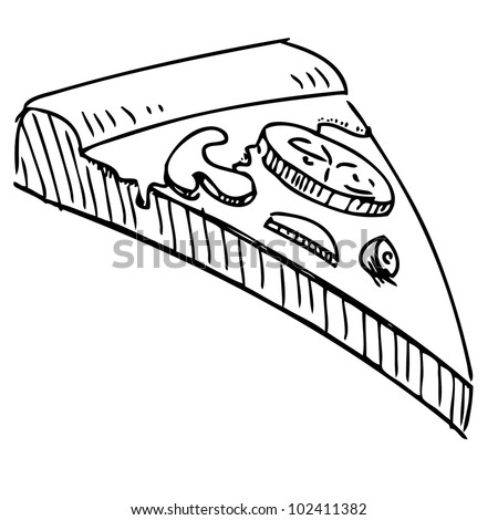 Slice of pizza isolated on white background. Hand drawing sketch vector illustration - stock vector