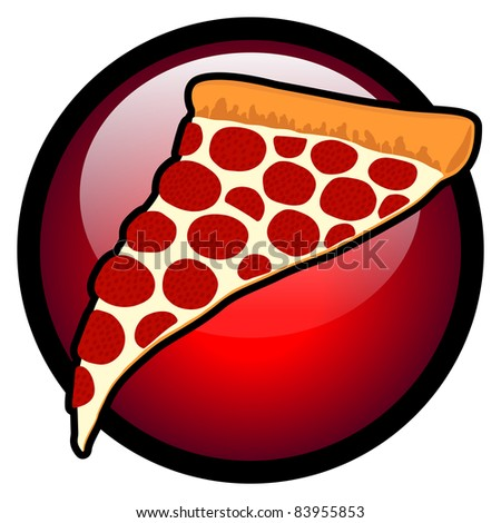Slice of Pizza with Red Circle Symbol - Vector Illustration. (JPEG version also available). - stock vector