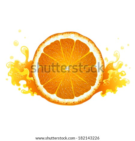 Slice of ripe orange with juice - stock vector