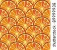 Sliced orange seamless pattern - orange background - stock vector