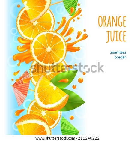 Sliced oranges with leaves and juice splash fruit border vector illustration