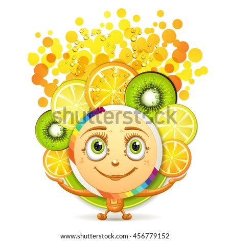 Slices of fruits with a smiley face - stock vector