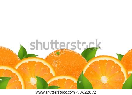 Slices Of Orange Border, Isolated On White Background, Vector Illustration - stock vector