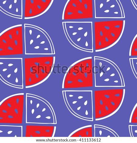 Slices of watermelon on a purple background form a continuous pattern. Seamless pattern hand-drawn. Vector background. - stock vector